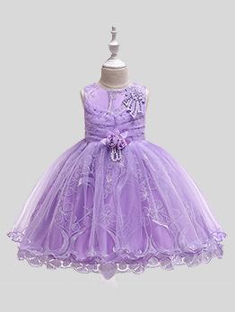Bright Color Studded Girl Sleeveless Gauze Dress