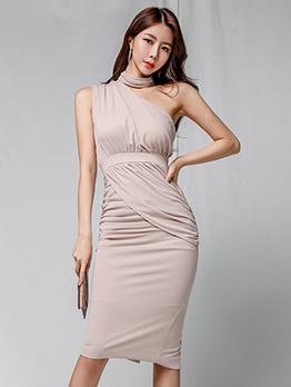 Simple Design One-Shoulder Pink Fitted Pencil Dress