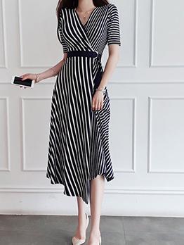 V Neck Striped Patchwork Big Swing Midi Dress