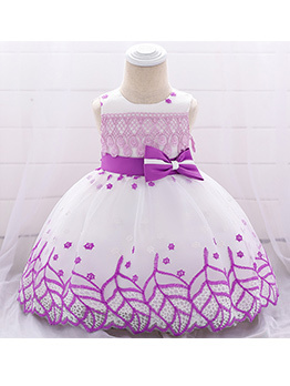 Gauze Embroidered Binding Bow Girls Dress