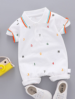 Number Print Unisex Baby Turndown Neck Jumpsuit
