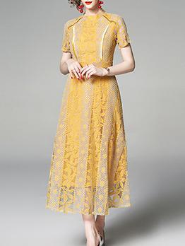 Vintage Patchwork Big Swing Lace Maxi Dress