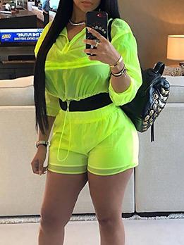 Stand Neck Drawstring Fluorescent Green Activewear