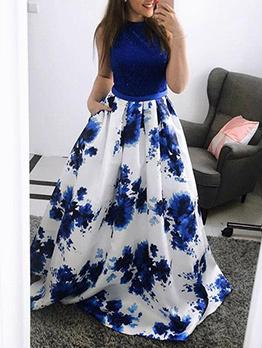 Charming Crew Neck Sleeveless Print Maxi Formal Dress