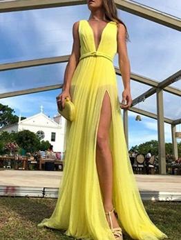Sexy V Neck High Split Sleeveless Maxi Dress