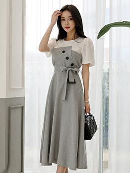 Contrast Color Tie-Wrap Short Sleeve Dress