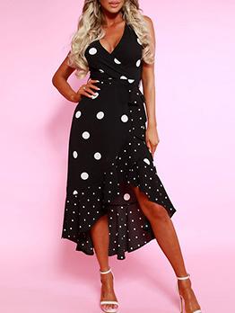 Stylish V Neck Polka Dots Ruffles Sleeveless Dress