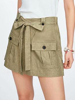 Fashion Pockets Tie-Wrap Short Cargo Pants