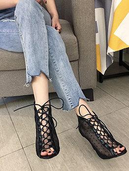 Euro Gauze Dot Lace Up Heeled Sandals
