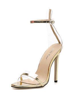 Concise PVC Patchwork Ankle Strap Sandals