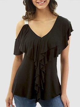 V-neck One Shoulder Ruffles Cozy T-shirt Design