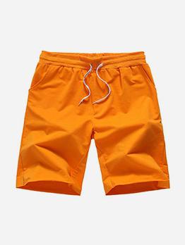 Solid Color Drawstring Short Pants For Men