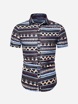 Casual Turndown Collar Printed Short Sleeve Shirt