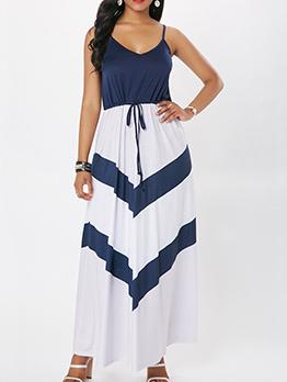 Bohemian Color Block Sleeveless Maxi Dress