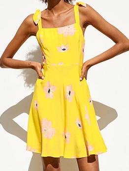 Flower Print Tied Shoulder Yellow Dress