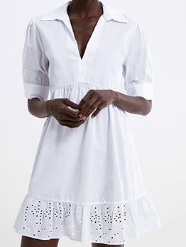 urndown Collar Patchwork Short Sleeve White Dress