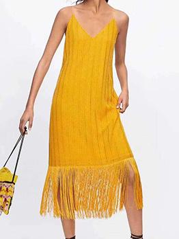 Summer Solid Color Straps Tassel Dress