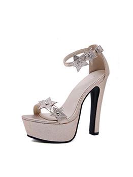 Star Splicing Platform Chunky Heel Sandals
