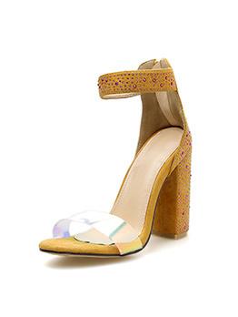 Rhinestone PVC Strap Chunky Heel Sandals