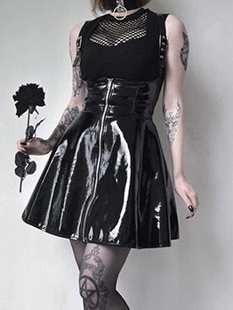 Fashion Backless Zipper Pu Cross Suspender Skirt