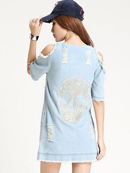 Off Shoulder Short Sleeve Denim Short Dress
