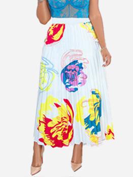 Hot Sale Print Big Swing Pleated Maxi Skirt