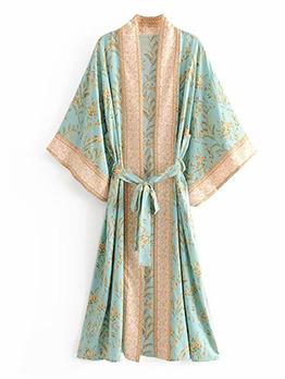 Kimono Style Flower Printing Tie-Wrap Long Coat