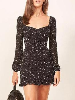 Square Neck Polka Dots Long Sleeve Dress