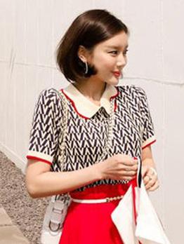 Doll Collar Contrast Color Short Sleeve T-shirt