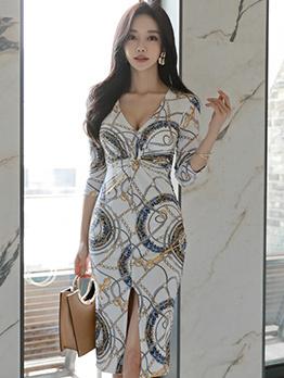 Sexy V Neck Print Half Sleeve Bodycon Dress