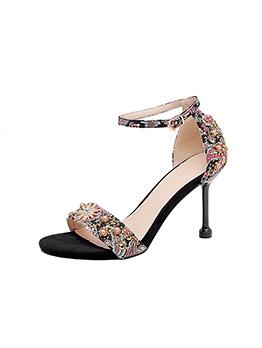 Vintage Floral Perspex Ankle Strap Sandals