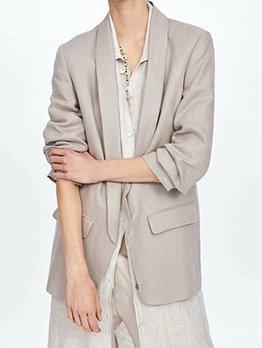Turndown Collar Pocket Decor Gray Blazer For Women