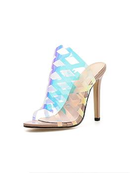 Trendy PVC Cross Strap Heeled Slippers