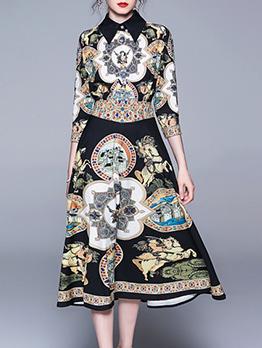 Vintage Print Button Up Turndown Collar Midi Dress