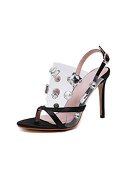 New Arrival PVC Rhinestone Splicing Heeled Sandals