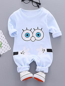Casual Cartoon Printed Cotton Baby Sleepsuit