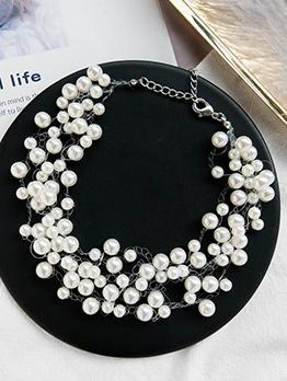 Simple Design Multistrand Pearl Necklace