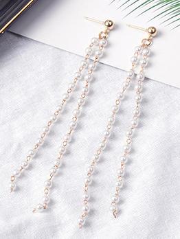 Chic Pearl Tassel Long Earrings