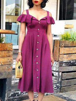 Single--Breasted Off Ruffled Shoulder Midi Dress