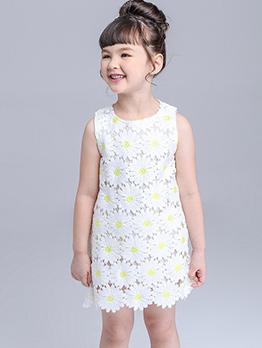 Sweet Sleeveless Chrysanthemum Dress For Girl
