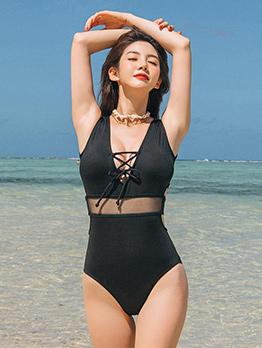 Gauze Panel High Waist One Piece Swimsuit