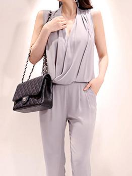 Korean V-neck Pleated Sleeveless Women Suit