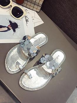 Shining Round Sequin Slip On Slippers For Women
