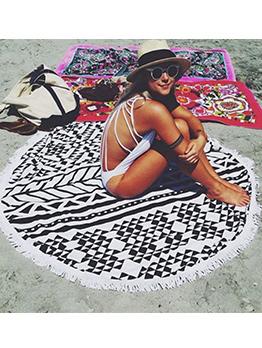 Tassel Geometric Printed Beach Blanket