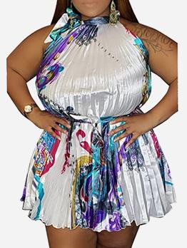 Euro Tie Neck Printed Pleated Sleeveless Dress