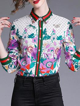 Vintage Turndown Collar Floral Blouse Design