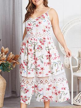 Plus Size Backless Floral Strap Maxi Dresses
