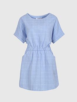 Casual Plaid Smocked Waist Short Sleeve Dress