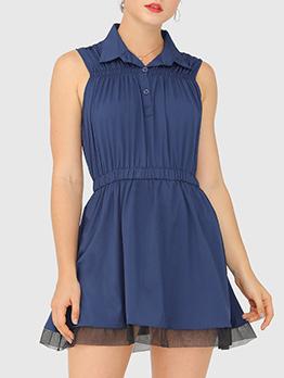 Turndown Collar Elastic Waist Sleeveless Dresses