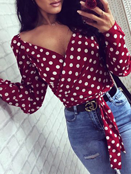 V Collar Polka Dots Long Sleeves Ladies Blouse